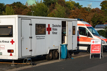 Mobile first aid station of German Red Cross, the DRK, at the edge of the Schützenplatz at the Oktoberfest in Hanover., Germany, October 13., 2018