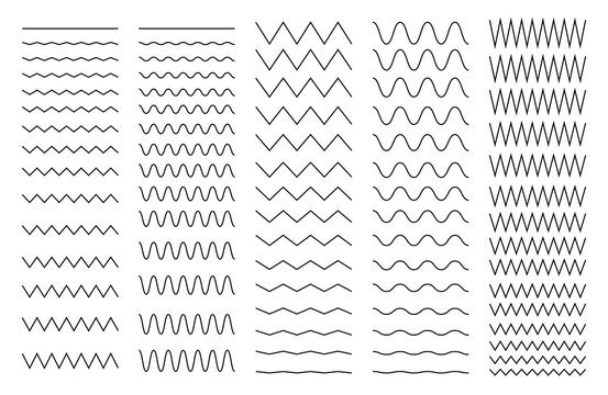 Set of wavy, curvy and zigzag - criss cross horizontal lines. Collection of different thin line wide and narrow wavy line. Vector illustration. EPS 10.
