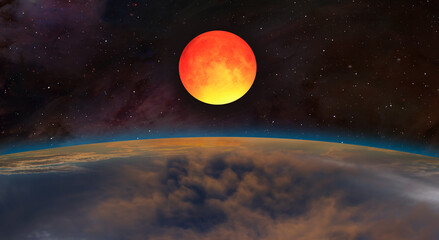 Wall Mural - Big bloody red moon- Lunar eclipse