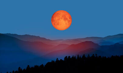 Wall Mural - Bloody moon of Total Lunar Eclipse with blue mountains