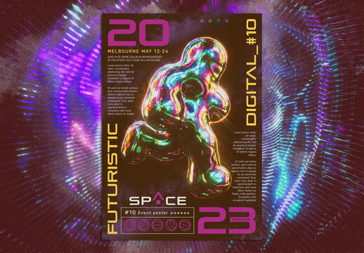 Futuristic Iridescent Designs Poster Layout