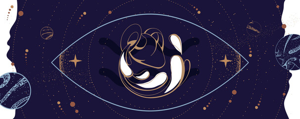 Fototapeta Modern magic witchcraft card with astrology Aquarius zodiac sign. Water jug logo design obraz