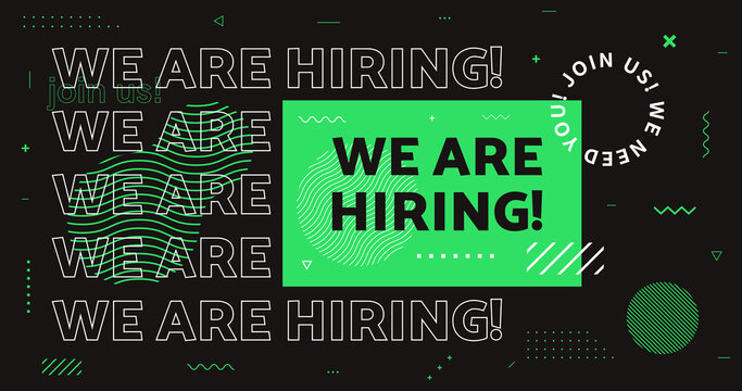 We are hiring vector banner. Join us now background with geometic shapes. Job Vacancy vector card. Open Recruitment.