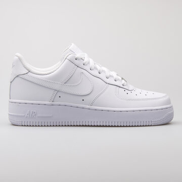 VIENNA, AUSTRIA - AUGUST 2, 2017: Nike Air Force 1 07 white sneaker on white background.