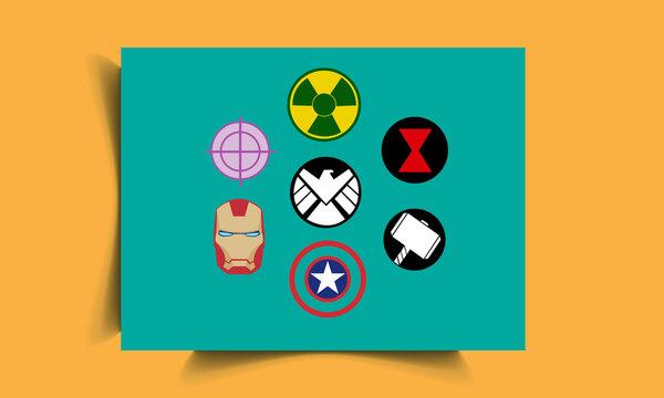 Set Of Avengers Marvel Logos Design