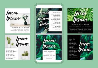 Social Media Layout Set with Botanical Inspiration