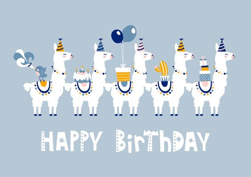 Happy birthday card with cute cartoon llama design.