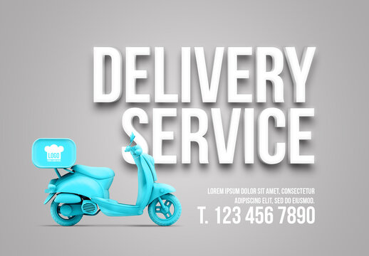 Delivery Service Advertising with Text and Color Motorcycle Mockup