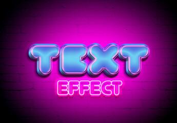 Neon Block Style Text Effect Mockup