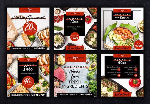 Restaurant Social Media Layout Set with Red and Back Accents