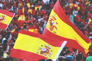 Football in spain, spanish flags and revolution