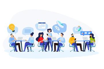 Wall Mural - Flat design style illustration of teamwork, workflow, project management, customer relationship. Vector concept for website banner, marketing material, business presentation, online advertising.