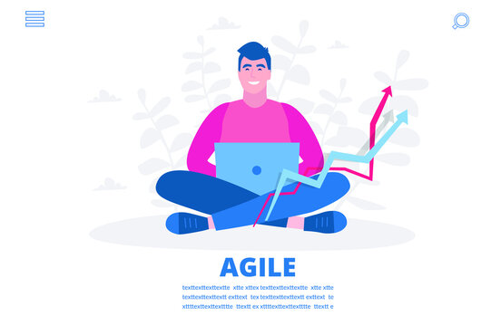 Agile master, man with notebook, Vector illustration for web banner, infographics, mobile.