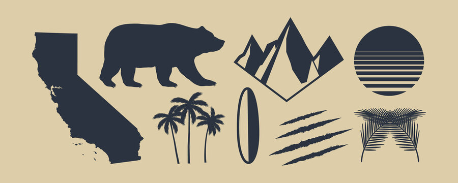 Set of 8 symbols of California. California map, palm trees, mountains. Bear and Scratch claws. California retro sun. Vintage elements for design logo, poster, print for t-shirt. Vector illustration