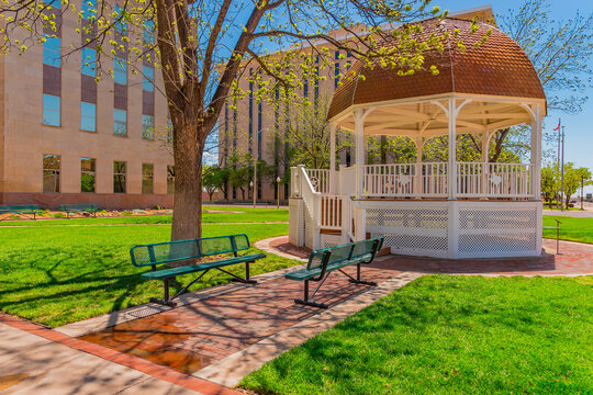 The Lubbock Town square with Gazebo in the    downtown area stands in front of Lubbock County Courthouse.