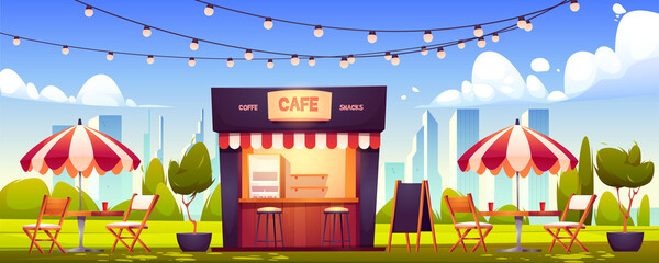 Outdoor cafe, summer booth in park, coffeehouse stall with street food drinks and snacks, cafeteria with table, chairs, umbrella, plants, lighting garland and menu board, Cartoon vector illustration Fotomurales