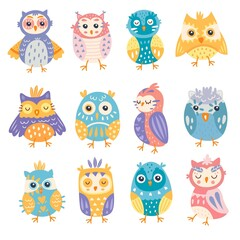 Wall Murals Owls cartoon Set of bright colourful cute owls ceremony vector illustration. Different emotions and expressions flat style. Animal world concept. Isolated on white background