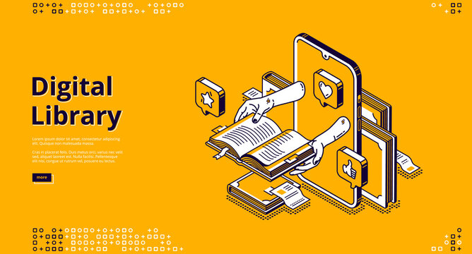 Online library isometric landing page. internet service, app for reading. Human hands holding book on computer desktop, digital technologies in education and studying, 3d vector line art web banner