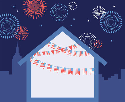 Celebration independence day of america. 4th of july celebration. home decorated with usa flags on a city skyline