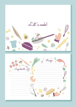 Recipe book printable template lets cook lettering vector illustration. Pages with colourful design flat style. Family cookbook. Vegetable and fruit decor. Isolated on blue background