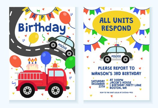 Kids party invitation with police and fire truck design vector illustration. Bright card decoration for celebration flat style. Fun party concept. Isolated on white background