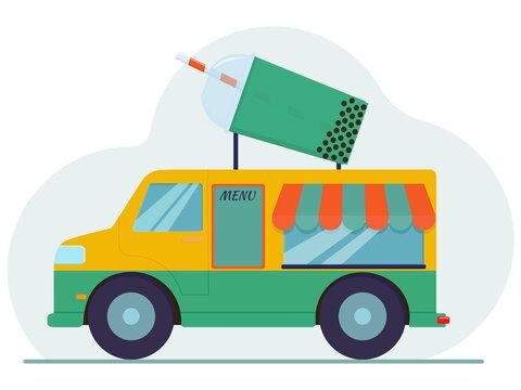 Flat vector illustration: bubble tea truck