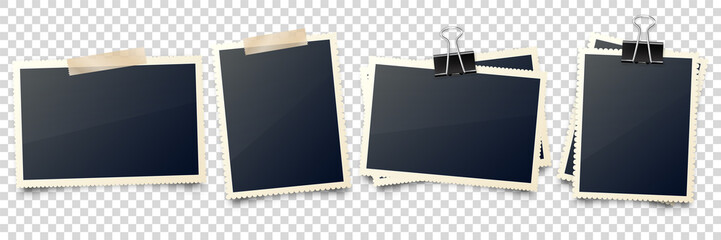 Realistic blank photo card frame, film set. Retro vintage photograph with adhesive tape and shadow. Digital snapshot image. Photography art. Template or mockup for design. Vector illustration.