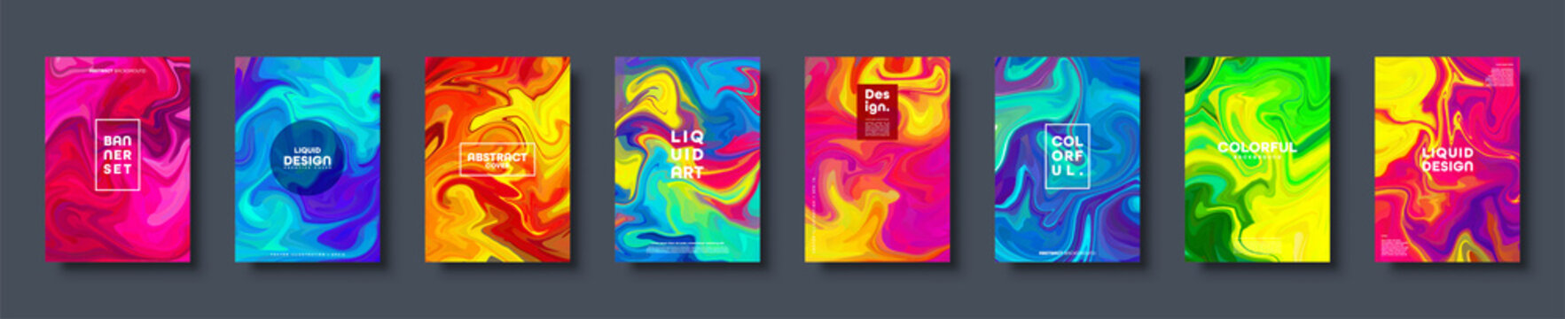 Colorful abstract geometric background. Liquid dynamic gradient waves. Fluid marble texture. Modern covers set. Vector illustration.