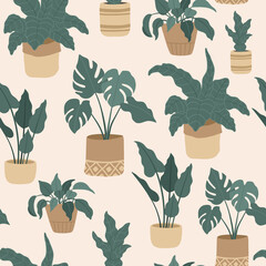 Seamless pattern of house plants in hanging pots, Scandinavian interior. Vector illustration, flat cartoon style.