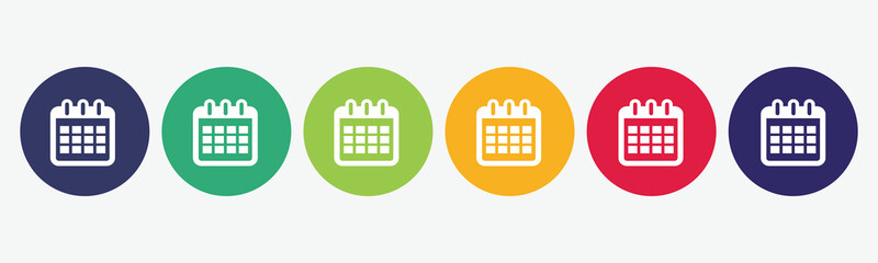 6 circles set in various colors with calendar icon.