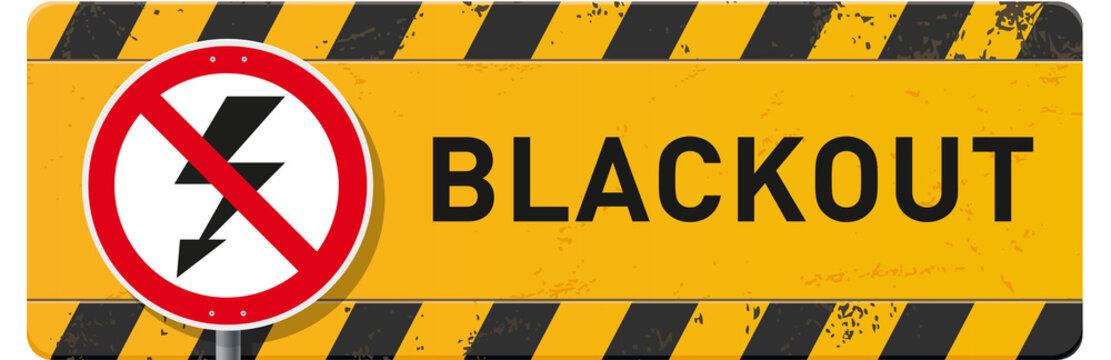 Bauschild Blackout gelb mit Schild und Piktogramm Blitz
