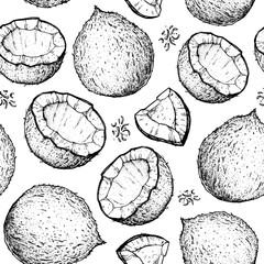 Coconut seamless pattern. Coconut design template. Hand drawn vector. Food illustration Engraved style. Vector botanical illustration, tropical background.