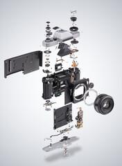 Assembly diagram of retro film SLR photo camera