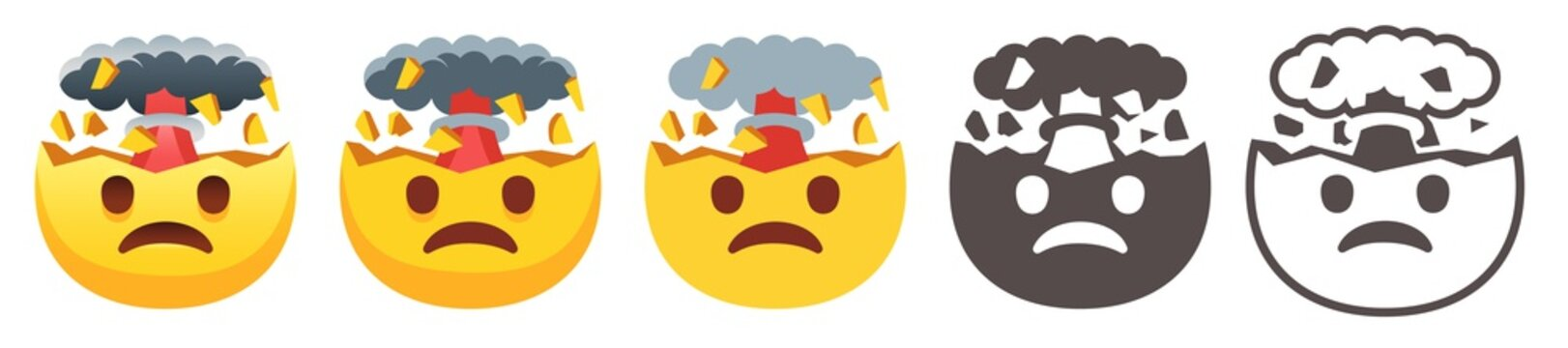 Exploding head emoji. Mind blown emoticon, shocked sad yellow face with brain explosion mushroom cloud flat vector icon set
