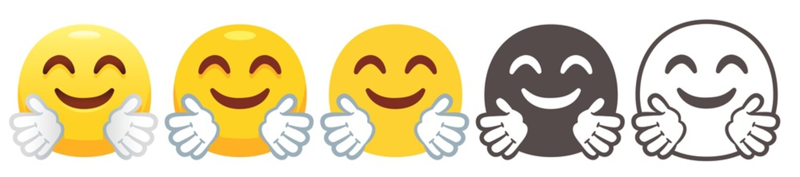 Hugging emoji. Happy face with smiling eyes, hug flat vector icon set