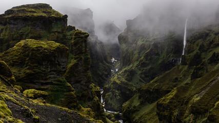 Printed kitchen splashbacks Black Extremely dramatic landscape on Iceland during a foggy day.