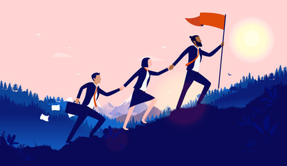 Fototapeta Teamwork diversity - A small group of businesspeople walking up hill to plant flag at the top. Successful, international multiethnic team working towards goal concept. Vector illustration. obraz