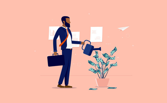 Money growth - Ethnic businessman watering a plant of dollar bills in office, dressed for success, financial freedom and successful minority concept. Vector illustration.