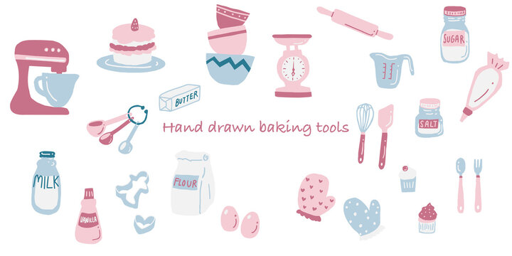 Pastel colored hand drawn baking supplies. Cute graphic resources of illustration in pink blue and red. Baking tools scale bowl cake oven mitt milk butter vanilla measuring cup cream.