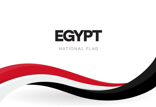 Egypt flag, wavy ribbon with colors of Egyptian national flag on white background for Independence Day or national holidays, isolated vector illustration.