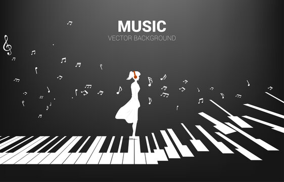 Vector silhouette of woman standing with piano key with flying music note . Concept background piano music and recreation.