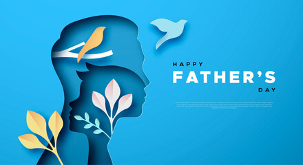 Father's Day papercut card of dad and son template