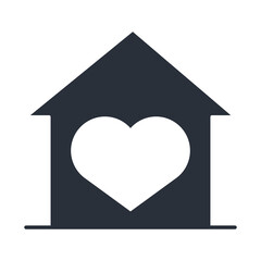 house love heart, family day, icon in silhouette style