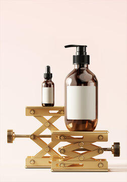 Creative background for product presentation. Cosmetic bottle on brass laboratory scissor jack. Lifting stages platform for luxury product style. 3d render illustration.