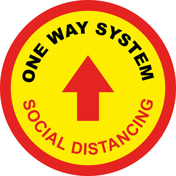 One Way System Shop Floor Sign for Coronavirus Covid 19 Social Distancing Quarantine Measures in Shops, Commercial Premises, Outdoor Spaces etc