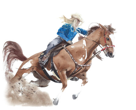 Cowgirl riding horse American tradition horseback barrel racing watercolor painting illustration isolated on white background