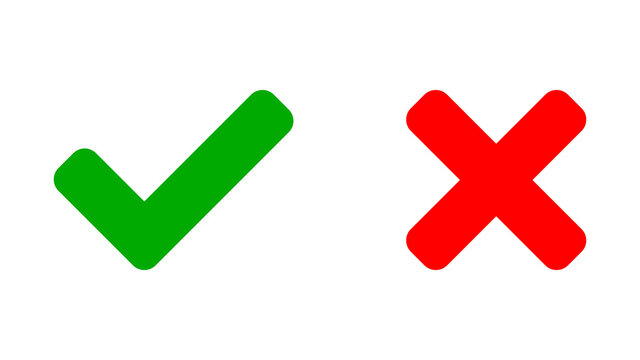 Yes and No or Right and Wrong or Approved and Declined Icons with Green Check Mark and Red X Sign. Vector Image.
