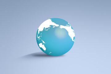 グレーバックの水色の地球のアイコン
