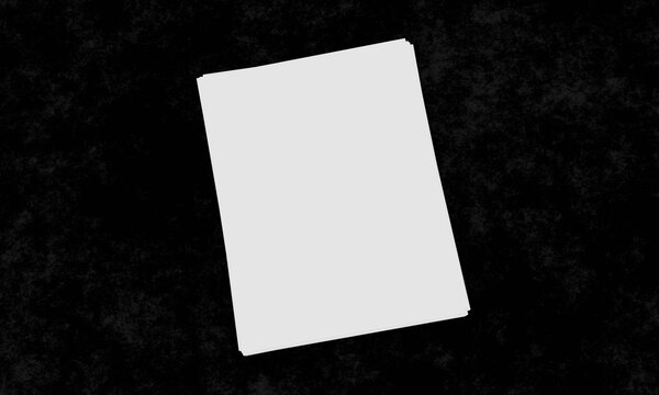 White, blank 3D rendering of 8.5 x 11 inch paper mock-up in a stack on black table or surface with copy space with room for text and images. Great for business branding, promotions or advertising.