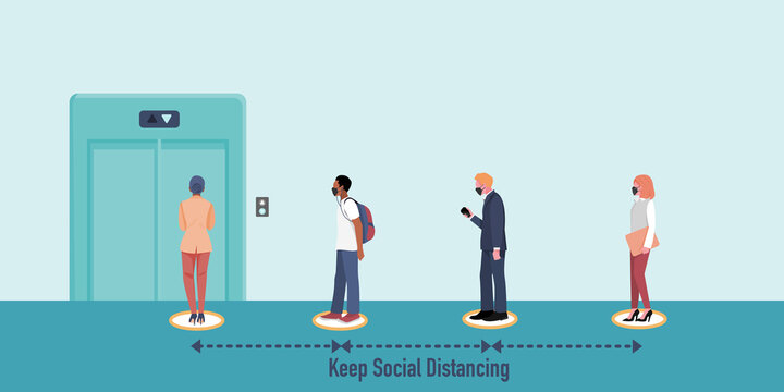 Office people wearing mask keep social distancing while queueing at elevator (lift).